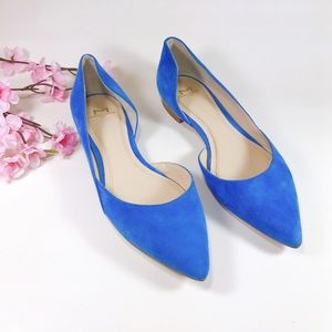 Marc Fisher Blue Suede Sunny D'Orsay Flats Sz 7